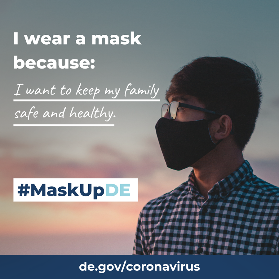 Example of a shareable graphic that talks about wearing masks.