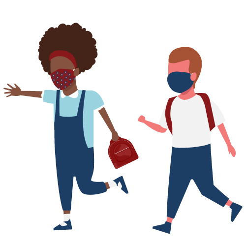 Illustration of children going to school with masks on.