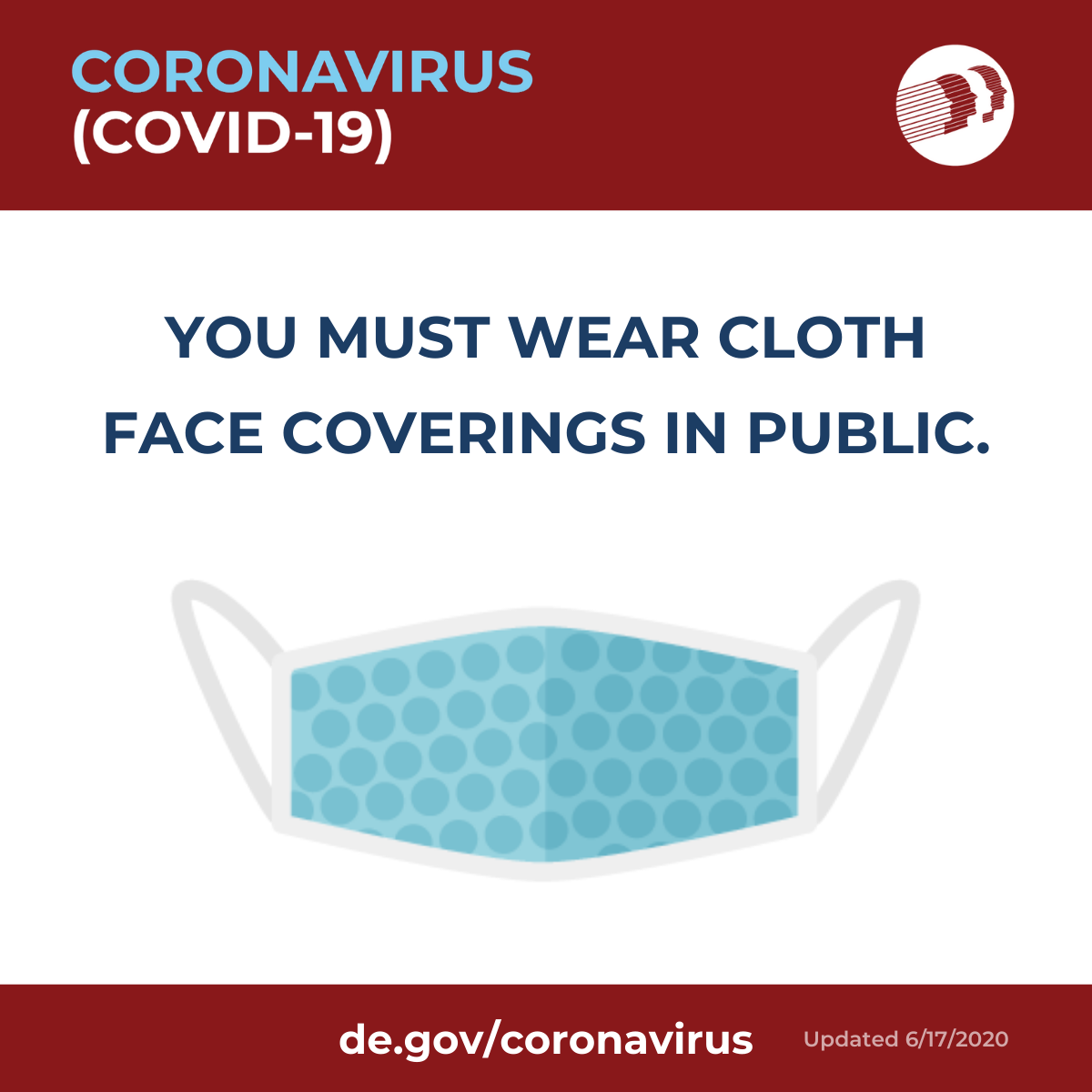 You must wear cloth face coverings in public
