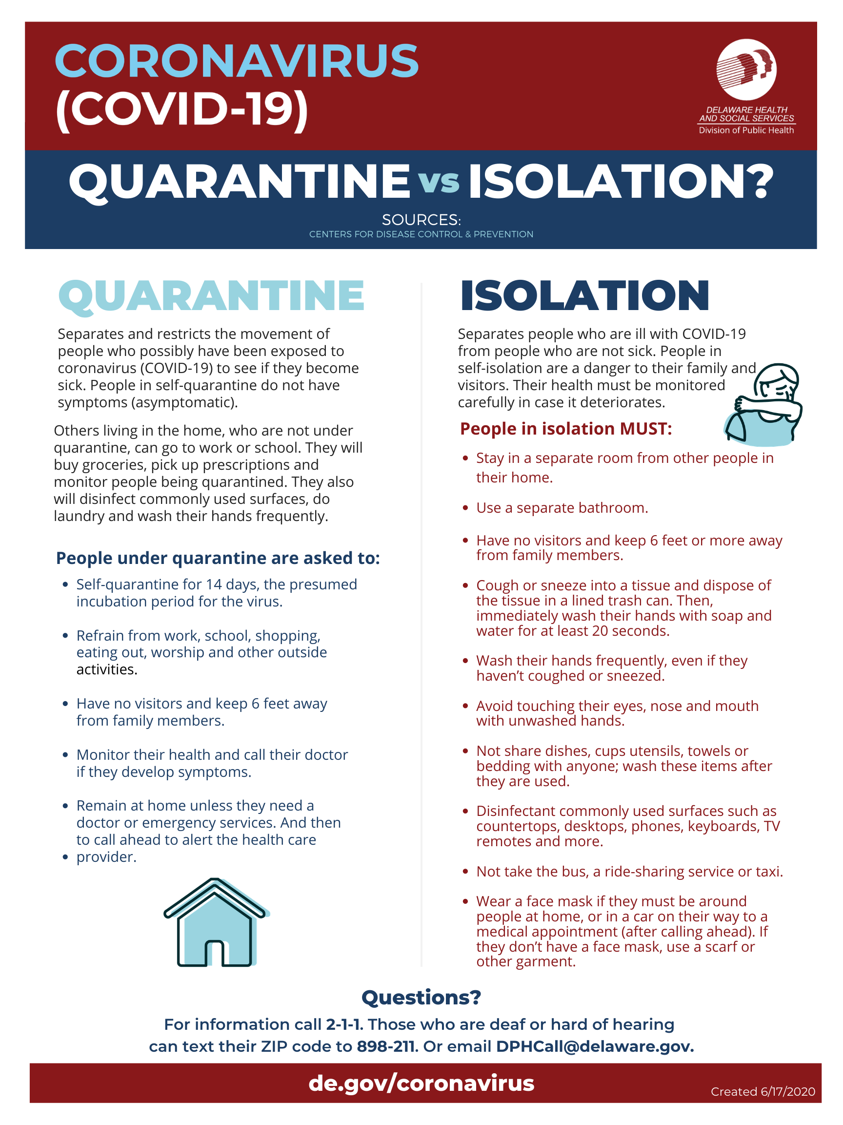 Quarantine vs Isolation 8.5x11 English