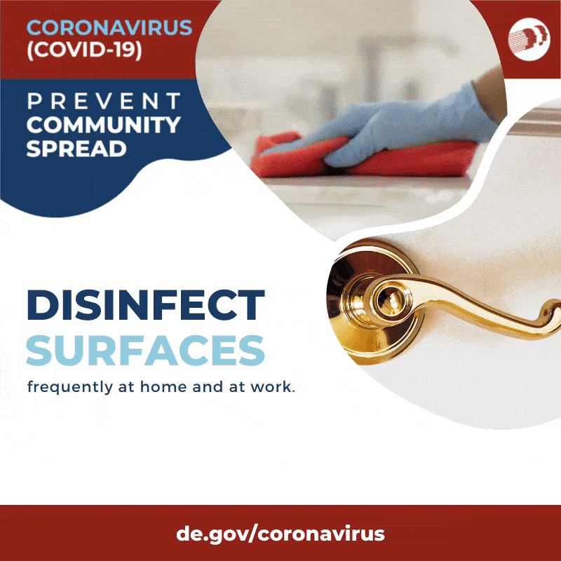 Disinfect Surfaces. A person wiping down a counter.