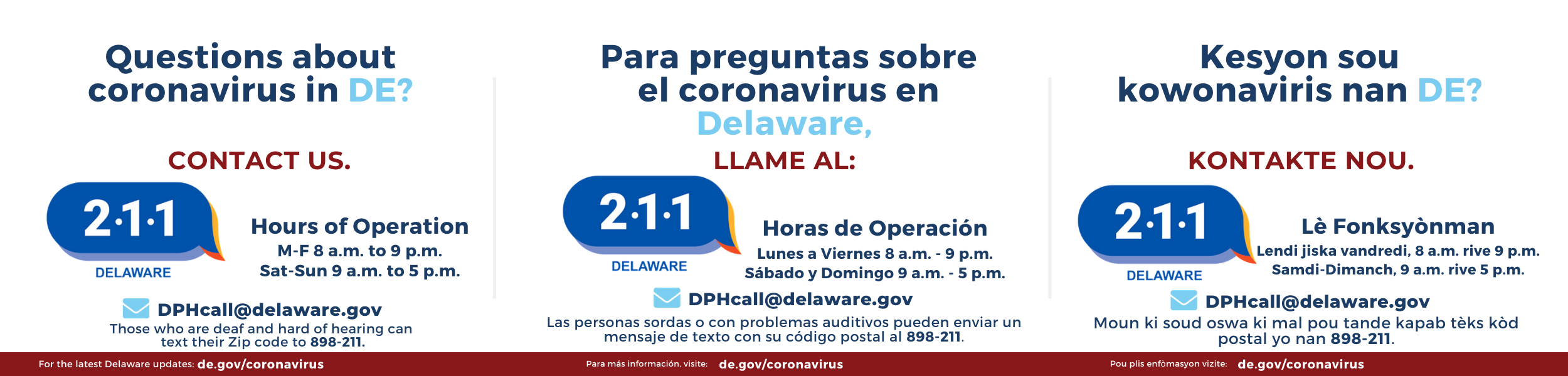 Dial 2-1-1 for questions about coronavirus