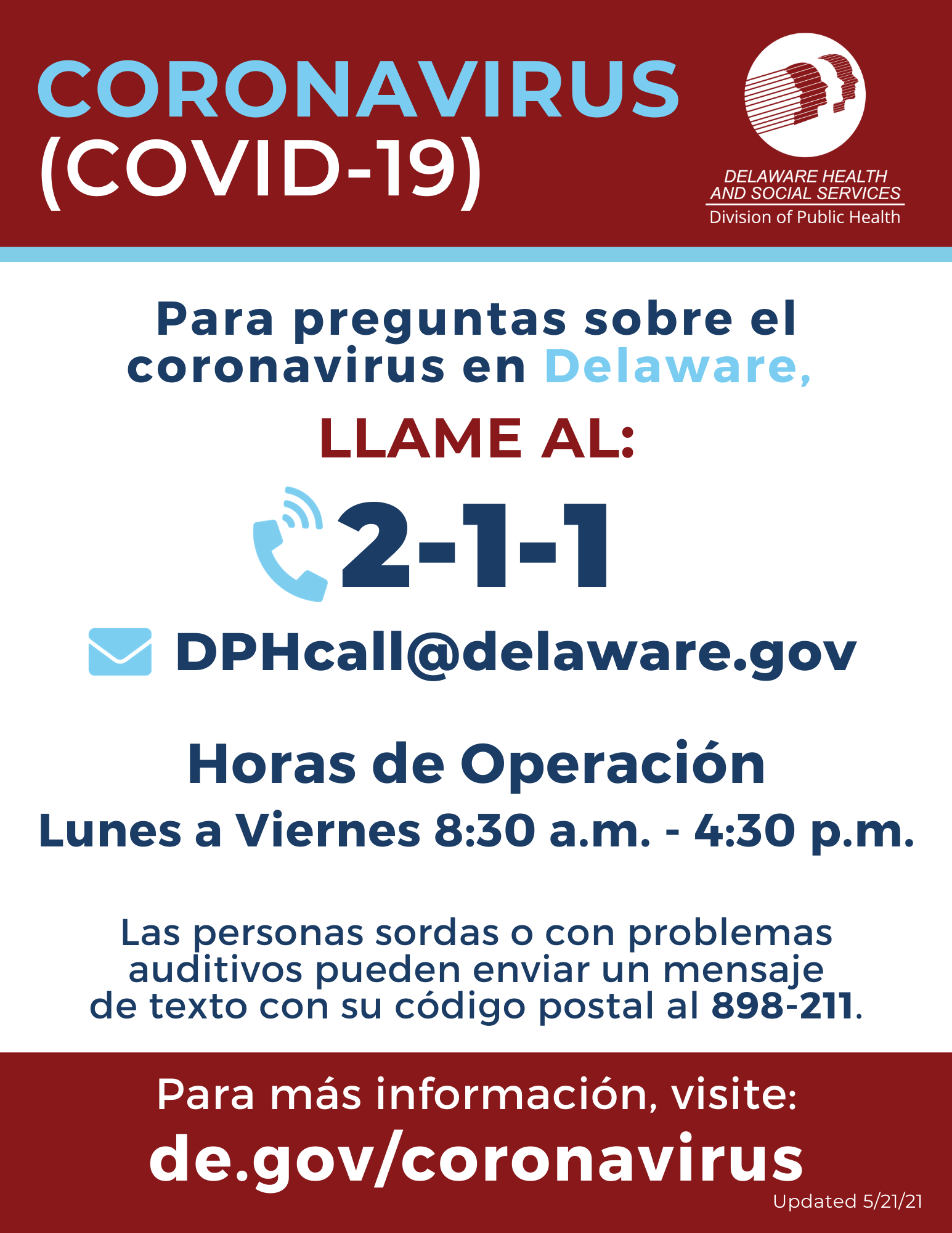Delaware Public Health Call Center poster. Call 2-1-1 for more information about coronavirus.