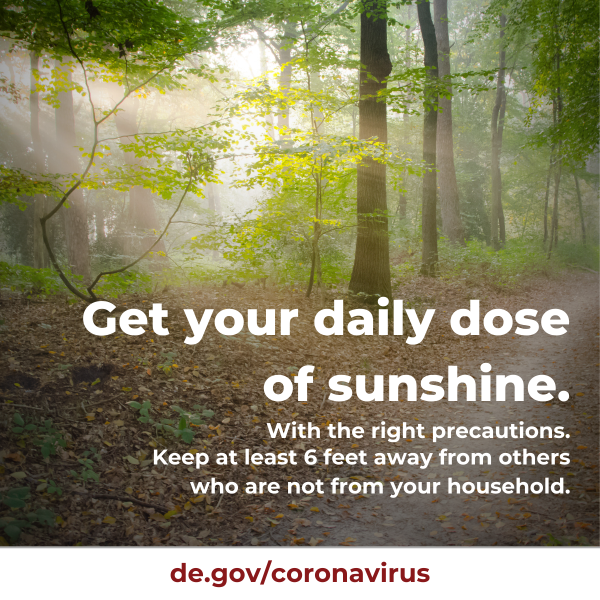 Get your daily dose of sunshine.  Use the right precautions. Keep at least 6ft away from others who are not from your household.