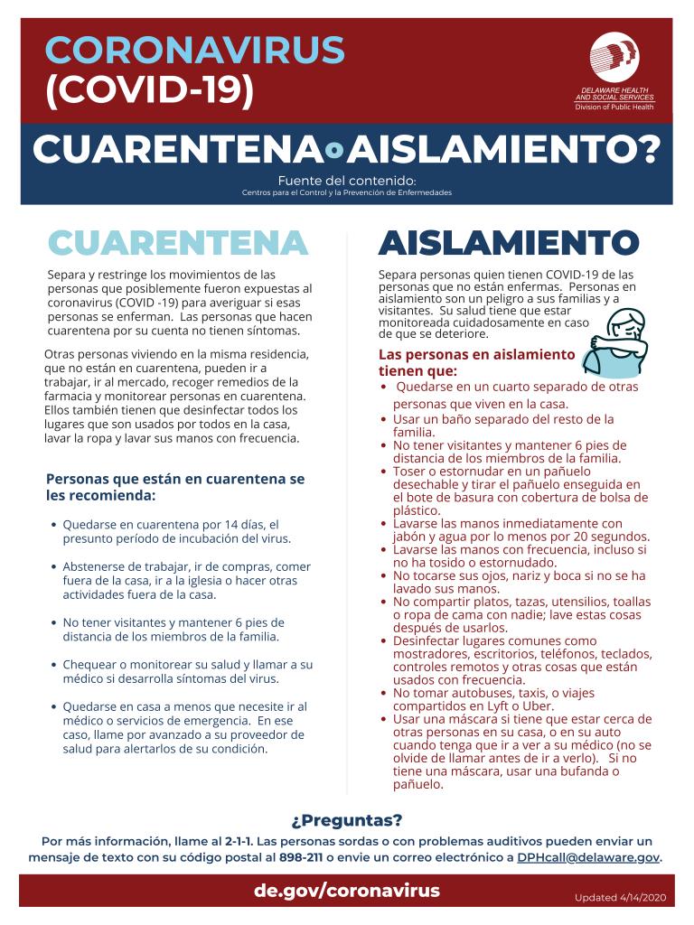 Pagina con las diferencias entre cuarantena y aislamiento
