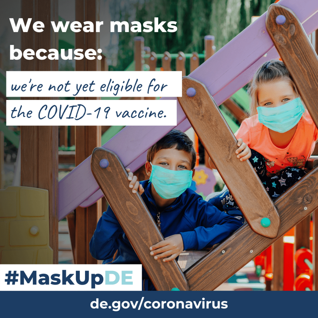 """two children in a playground wearing face masks. The graphic elements read: """"We wear masks because: we're not yet eligible for the COVID-19 vaccine."""""""