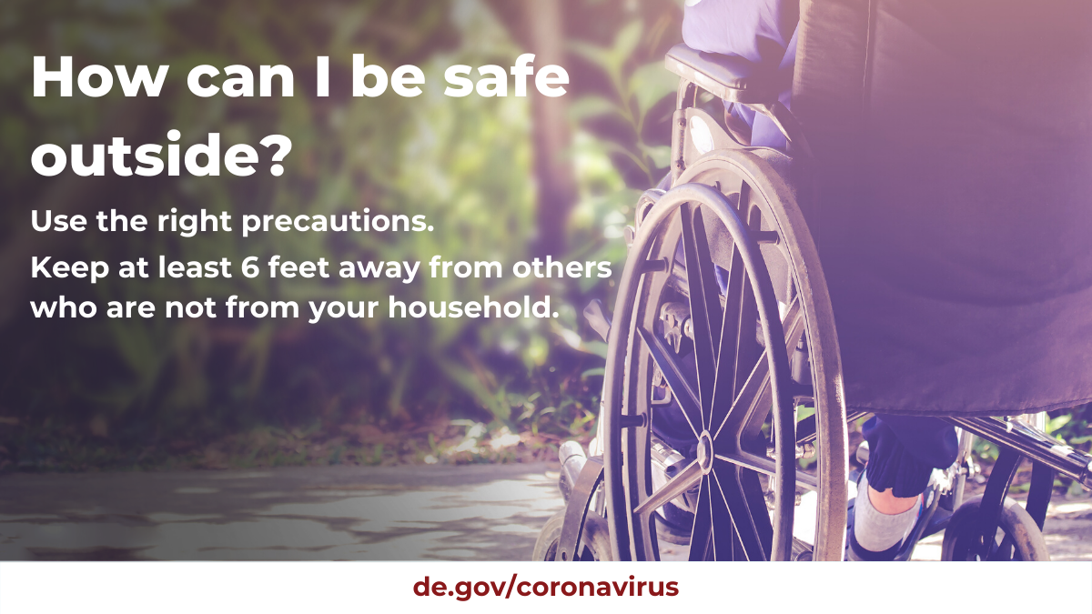 How can I be safe outside? Use the right precautions. Keep at least 6ft away from others who are not from your household.