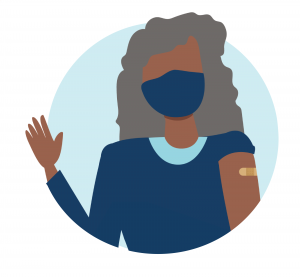 senior woman waving with a vaccine bandage on her arm