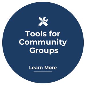 A bubble icon that links to tools for community groups informaiton