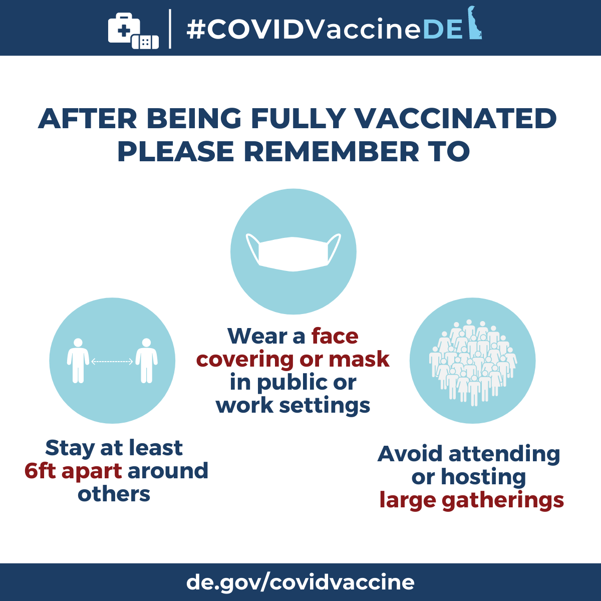 After being fully vaccinated please remember to stay at least 6ft apart around others, wear a face covering or mask in public or work settings, avoid attending or hosting large gatherings.