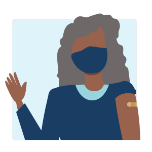 a vaccinated person waving