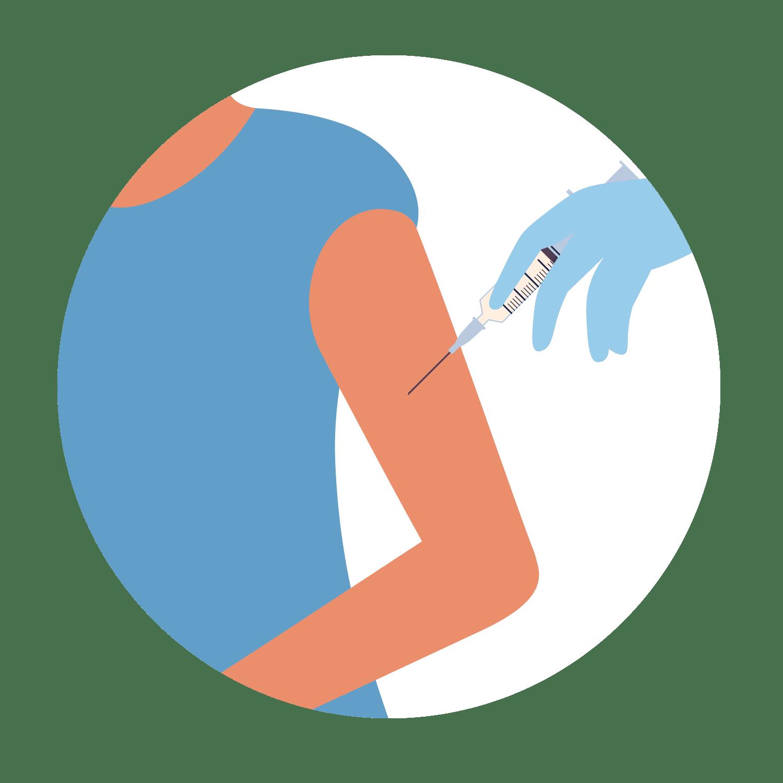Person getting the COVID-19 vaccine shot