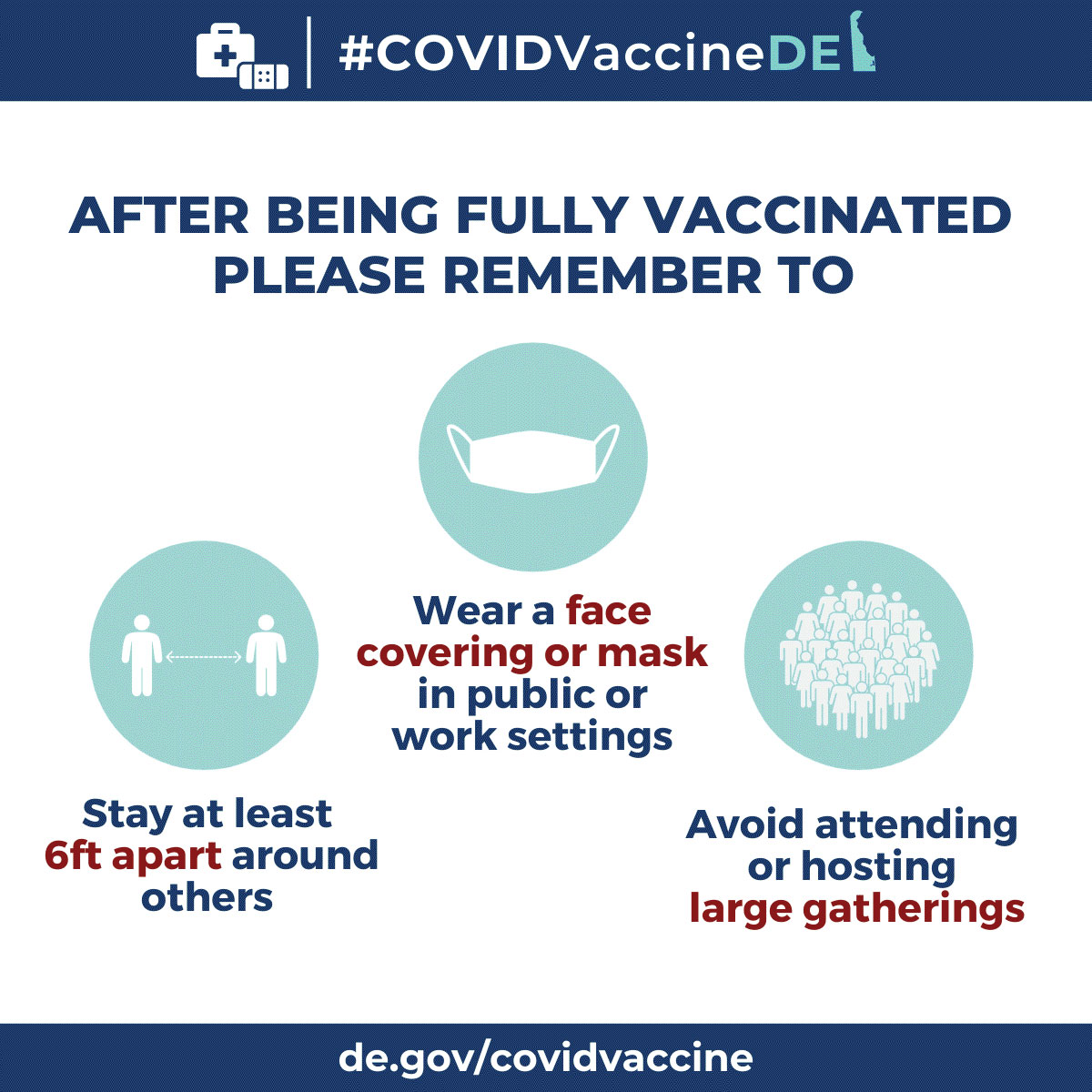 After being fully vaccinated please remember to social distance, wear a face mask and avoid attending or hosting large gatherings.