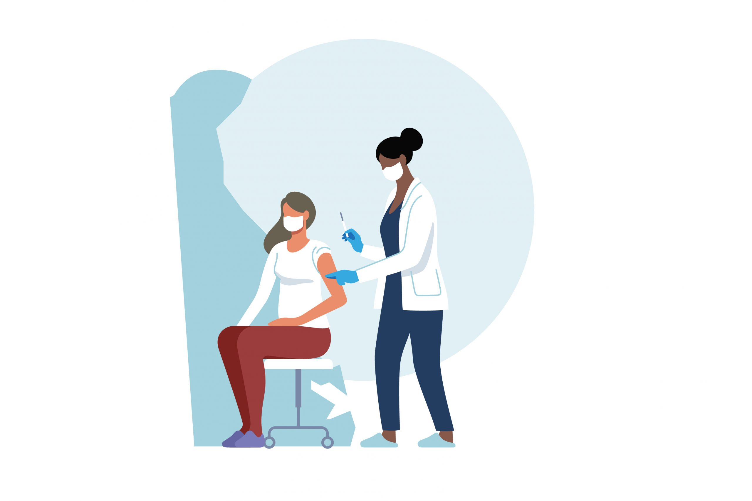 Illustrative graphic of a female doctor or nurse giving a COVID-19 vaccine to another female. Illustrative shape of Delaware in the background.
