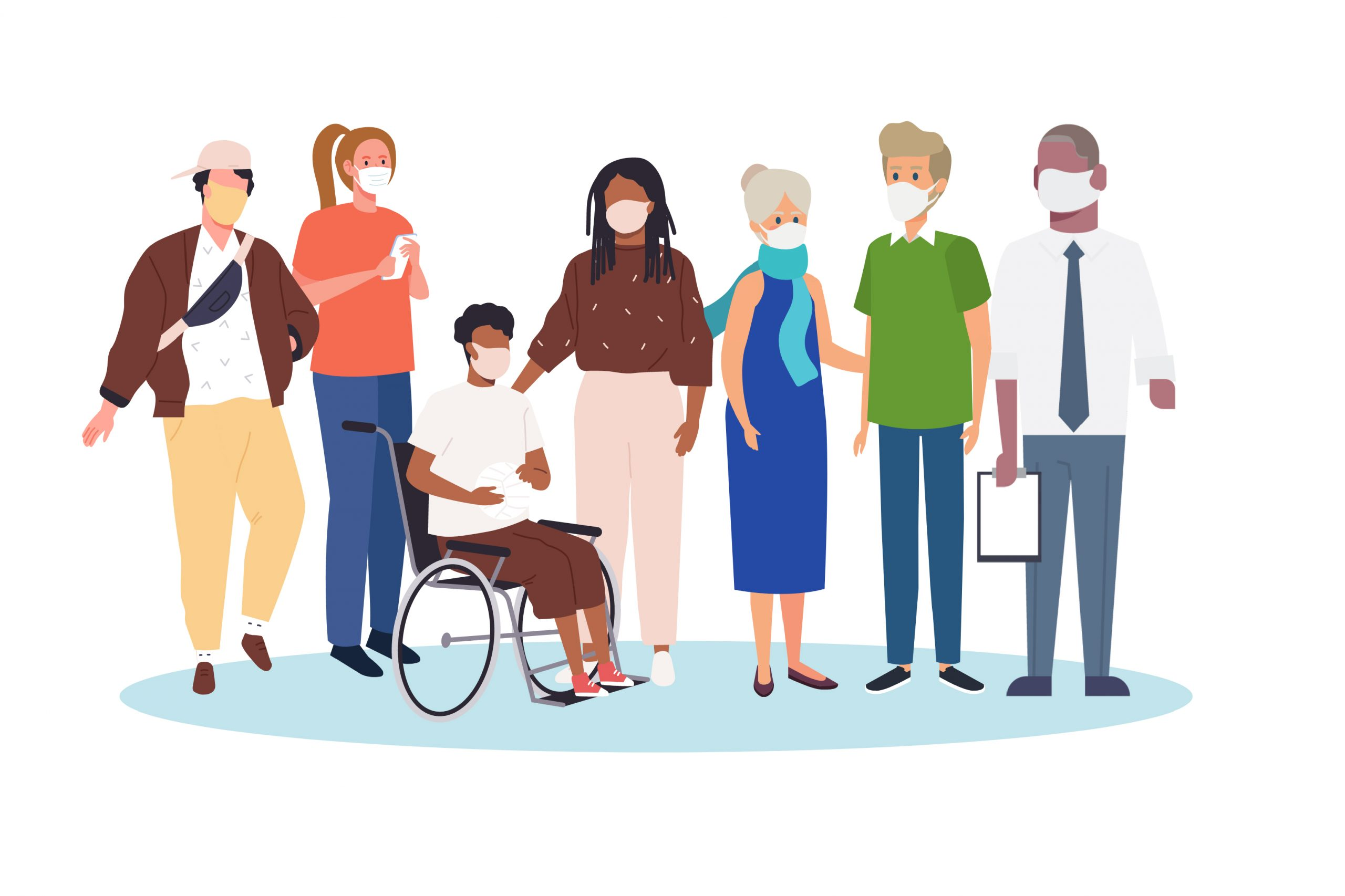 Illustrative graphic of a diverse group of people indicating that all are eligible for a free vaccine if 16+