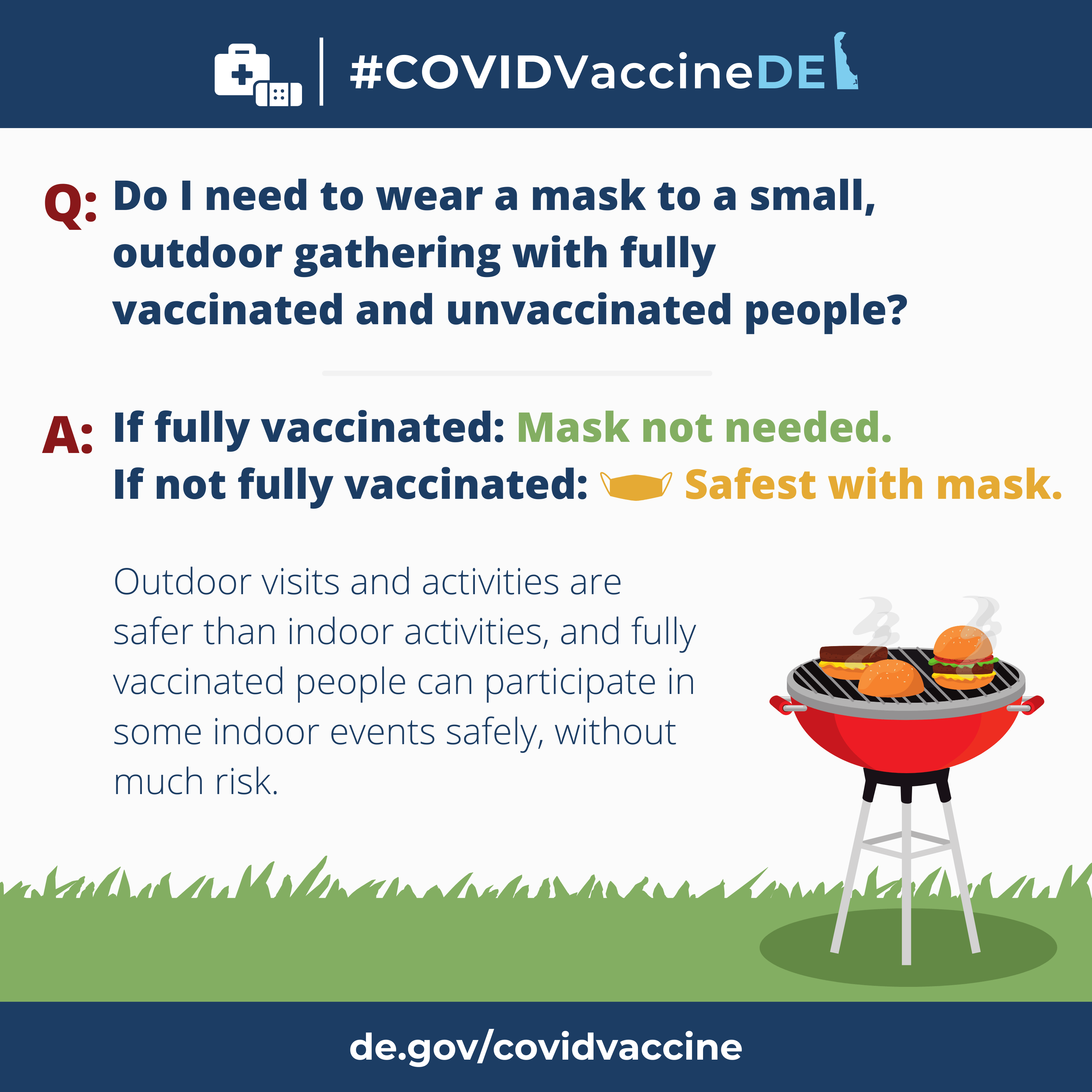 CovidVacineDE Questions and Answers series. Question: Do I need to wear a mask to a small, outdoor gathering with fully vaccinated and unvaccinated people? Answer: If fully vaccinated, mask is not needed. If not fully vaccinated, safest with a mask.
