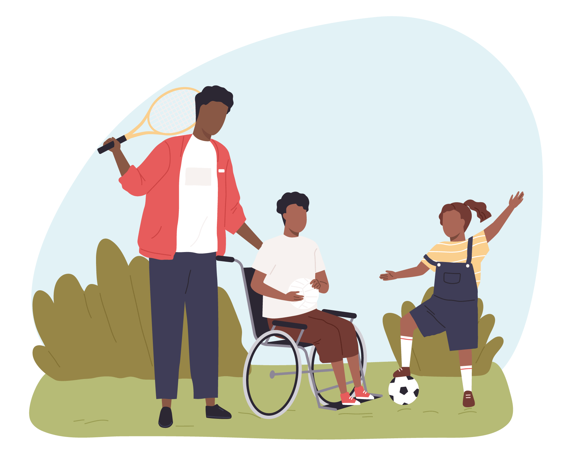 Family illustrative figures outside placing soccer without masks on