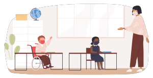 illustrative figures in a classroom setting with a teacher