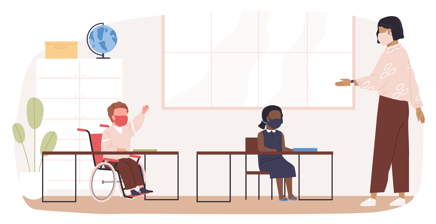 age 12-15 illustrative figures in a classroom setting with a teacher