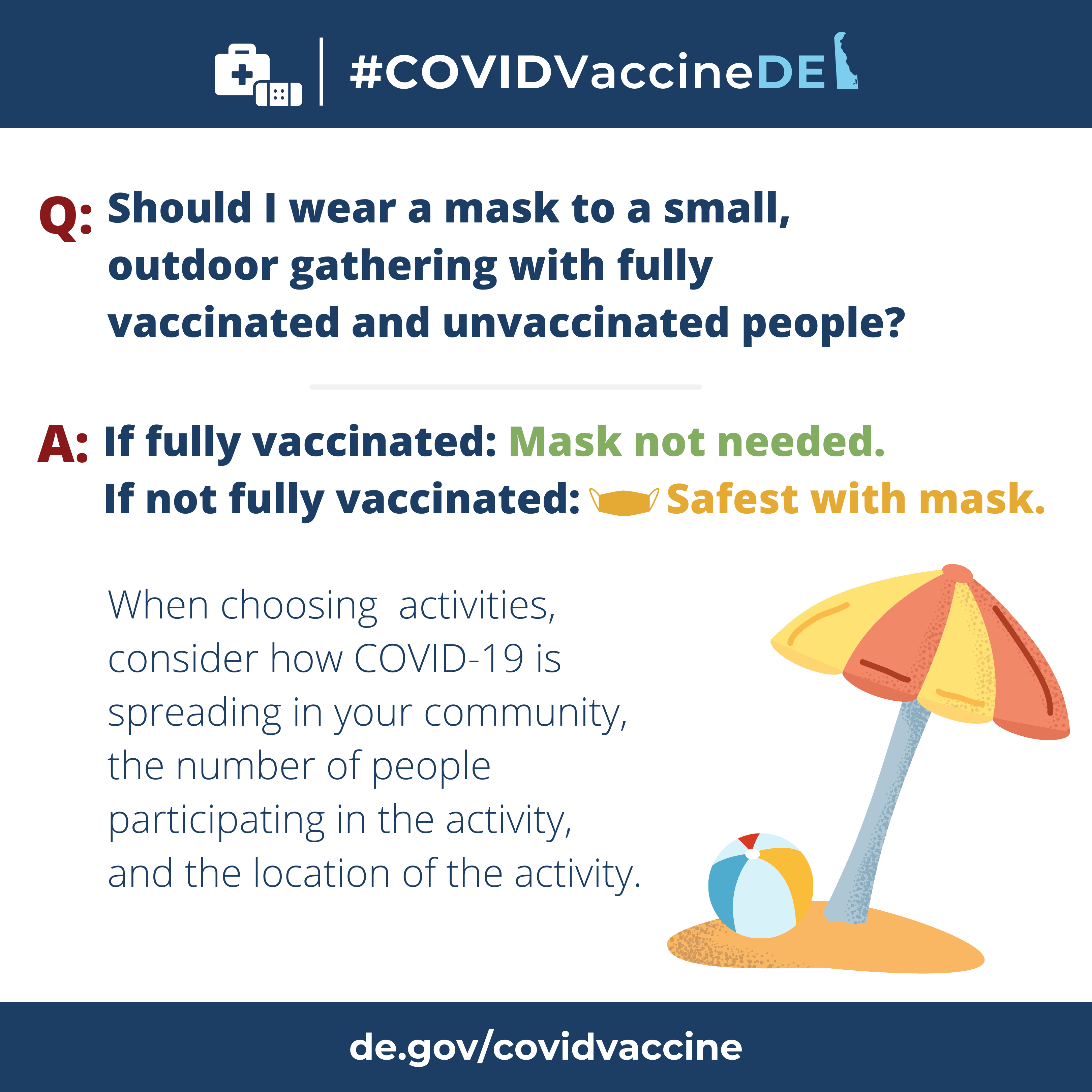 CovidVacineDE Questions and Answers series, question: should I wear a mask to a small, outdoor gathering with fully vaccinated and unvaccinated people? Answer: If fully vaccinated, no. If not fully vaccinated, yes, safest with a mask.