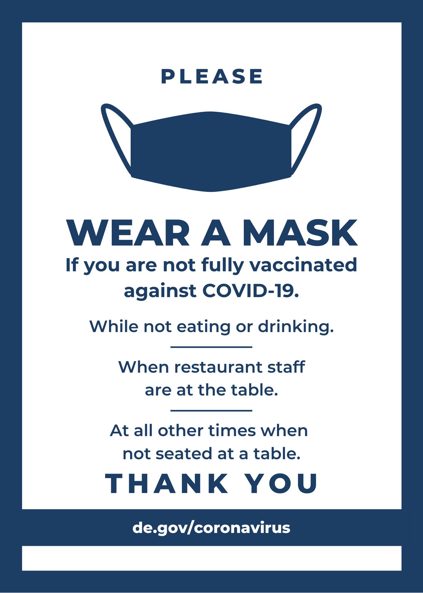 Wear a mask 4x6 - Restaurant guidance