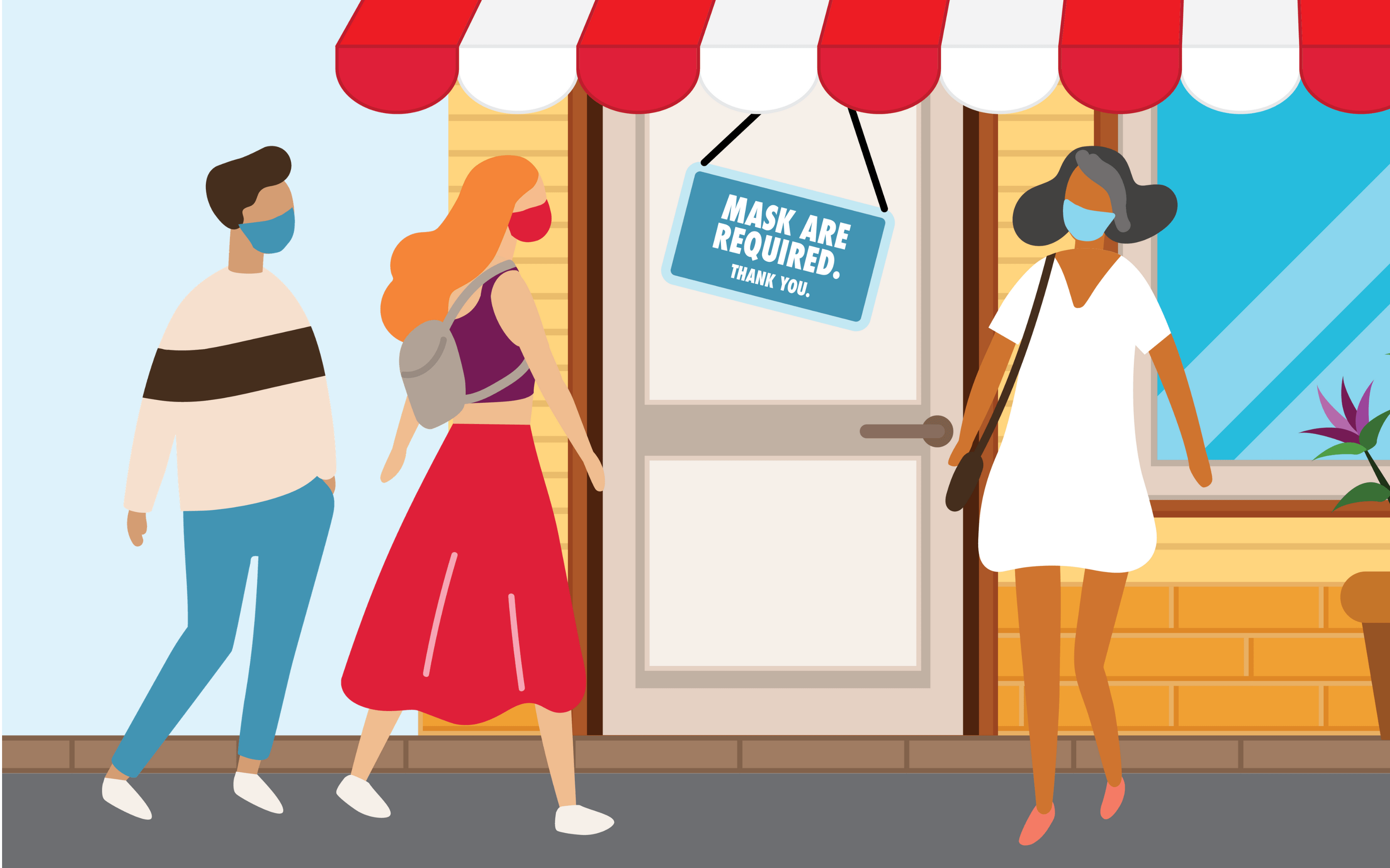 Illustrative figures walking into a store with masks on as the store requires it.