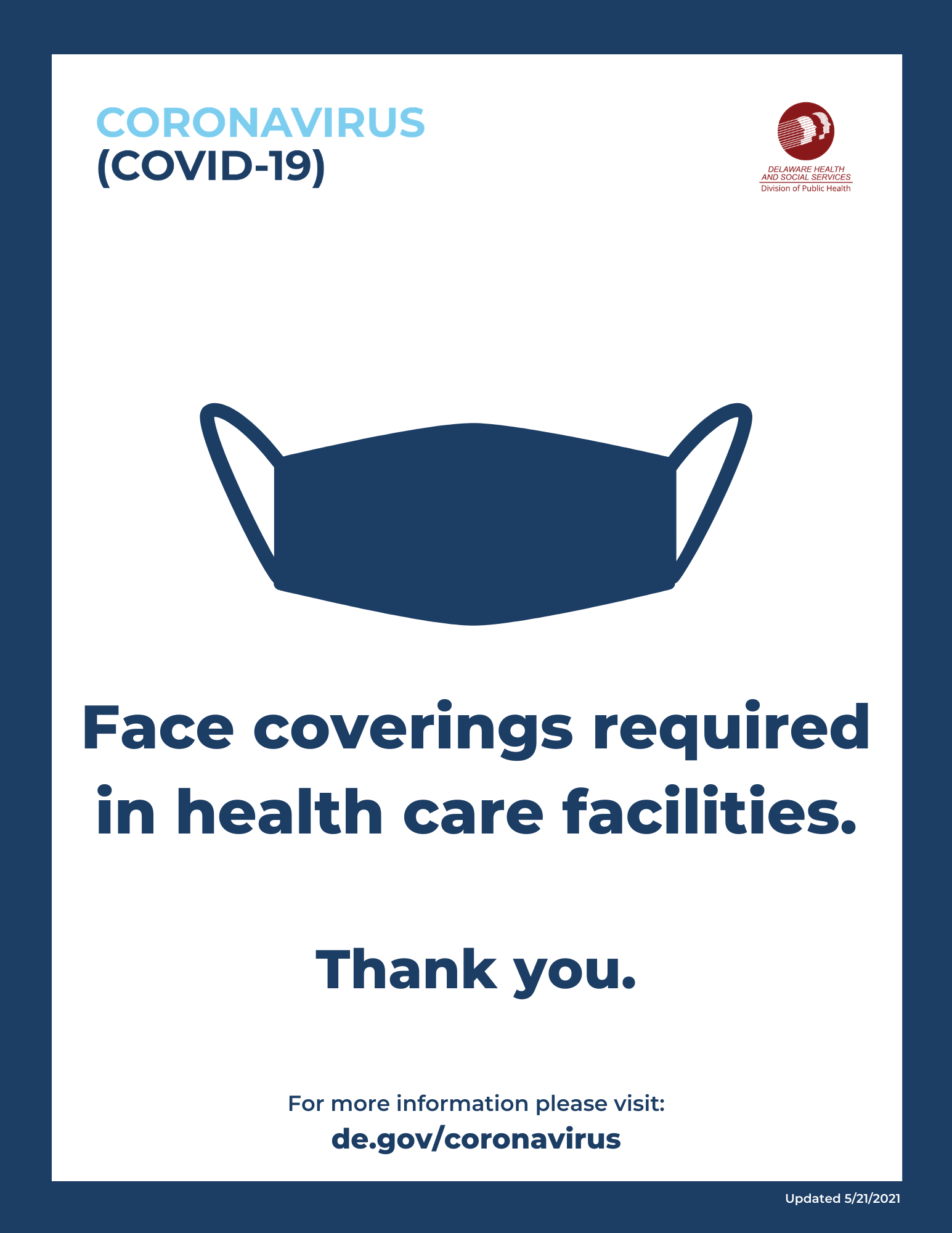 face coverings required in healthcare facilities sign