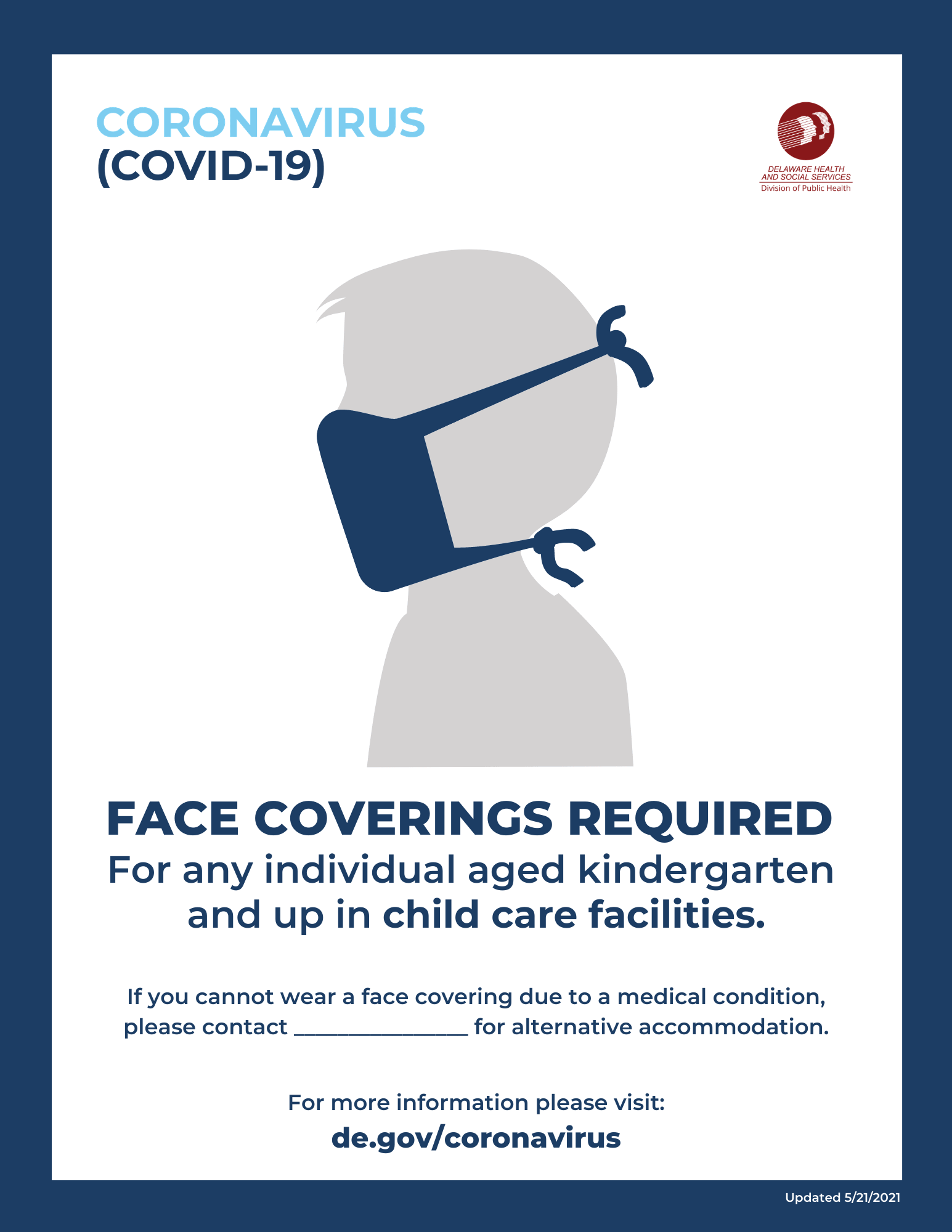 Face coverings are required for ages kindergarten and up within childcare facilities.