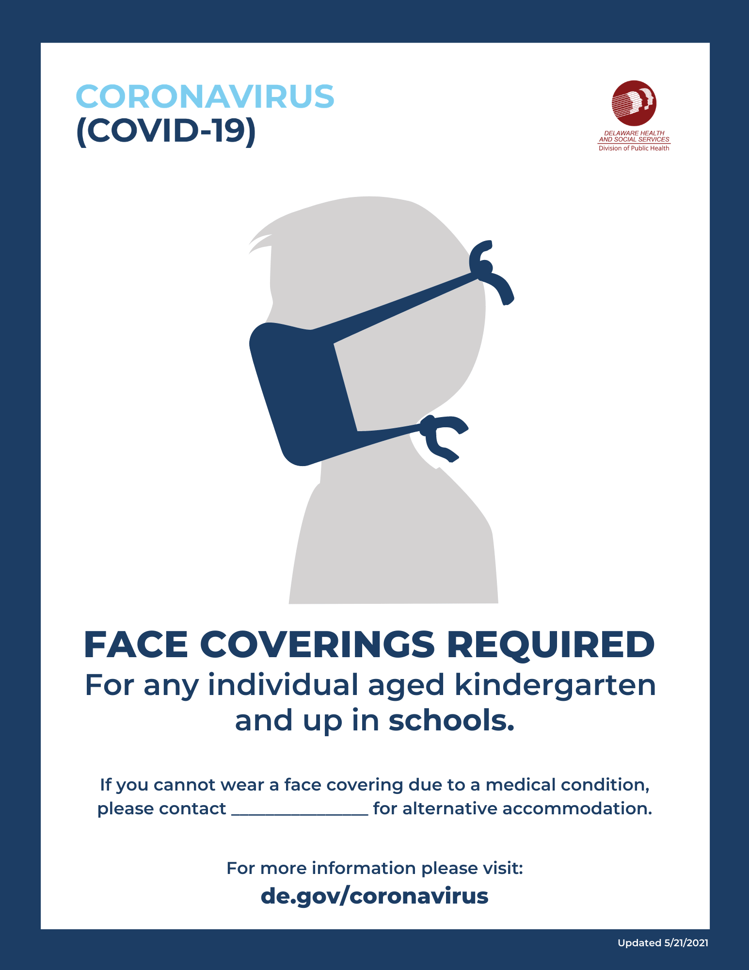 Face coverings are required for ages kindergarten and up within schools