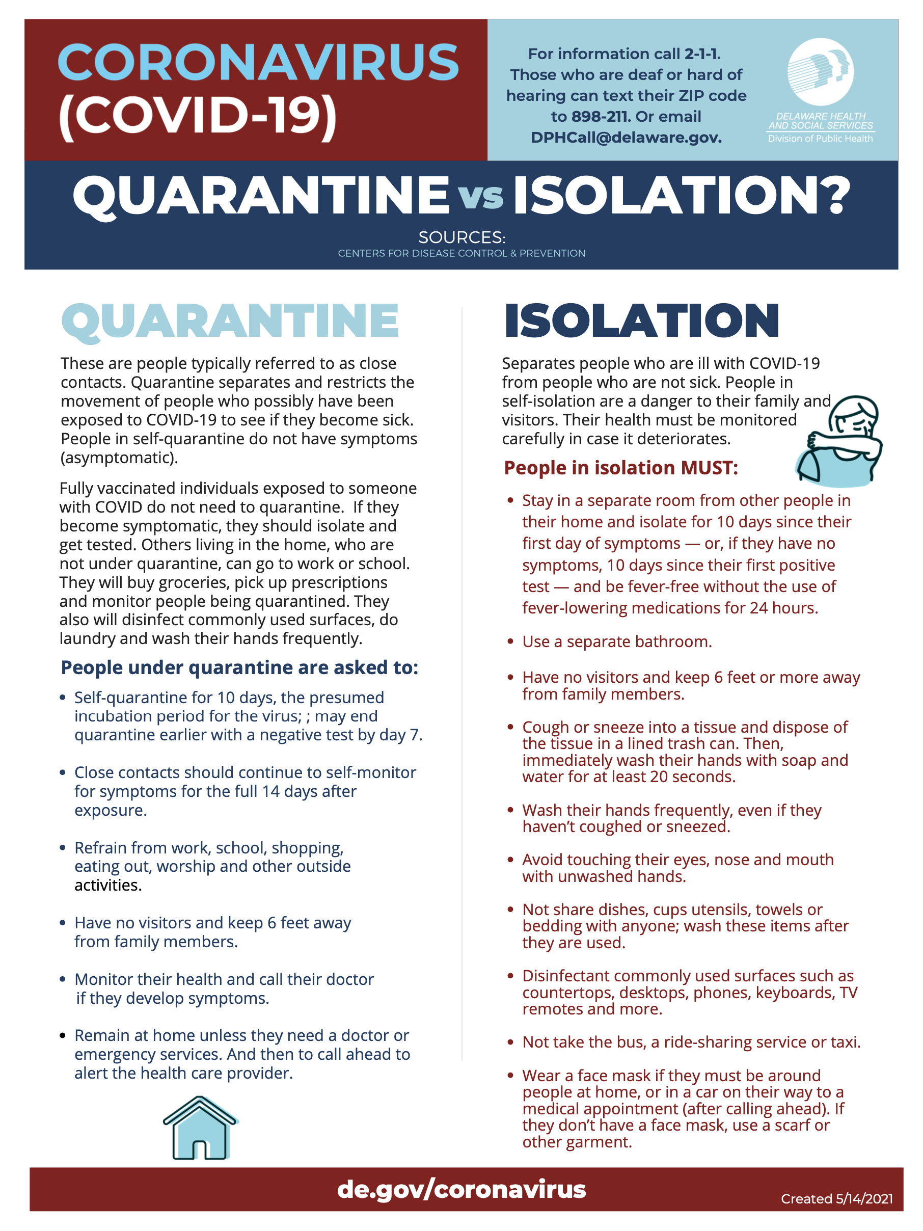 A document outlining the differences between quarantine and isolation.