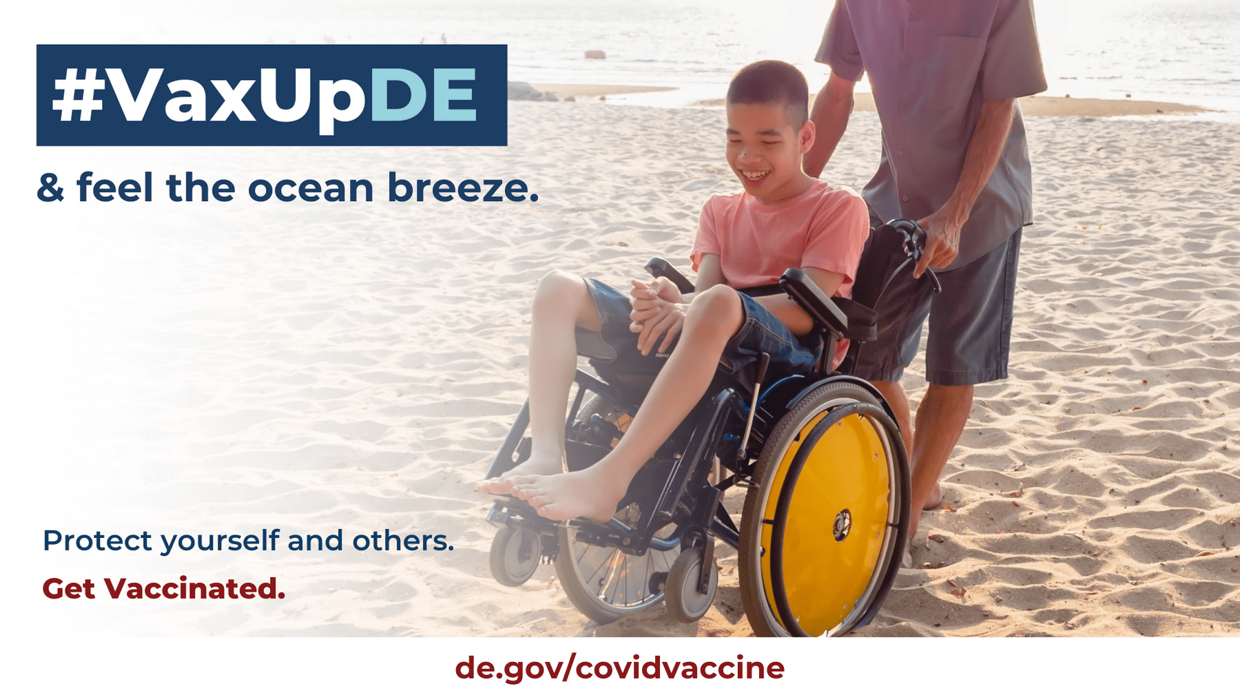 VaxUpDE Protect yourself and others. Get vaccinated. Father enjoys the beach with his sun while the sun sets behind them.