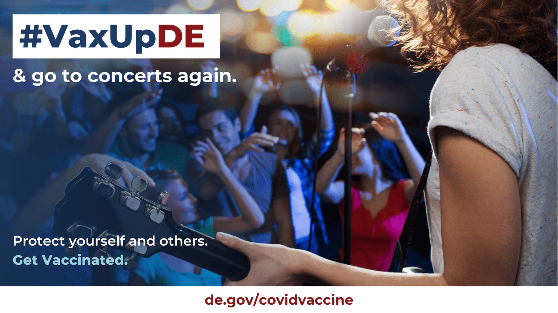 VaxUpDE. Protect yourself and others. Get Vaccinated. A concert scene is shown.