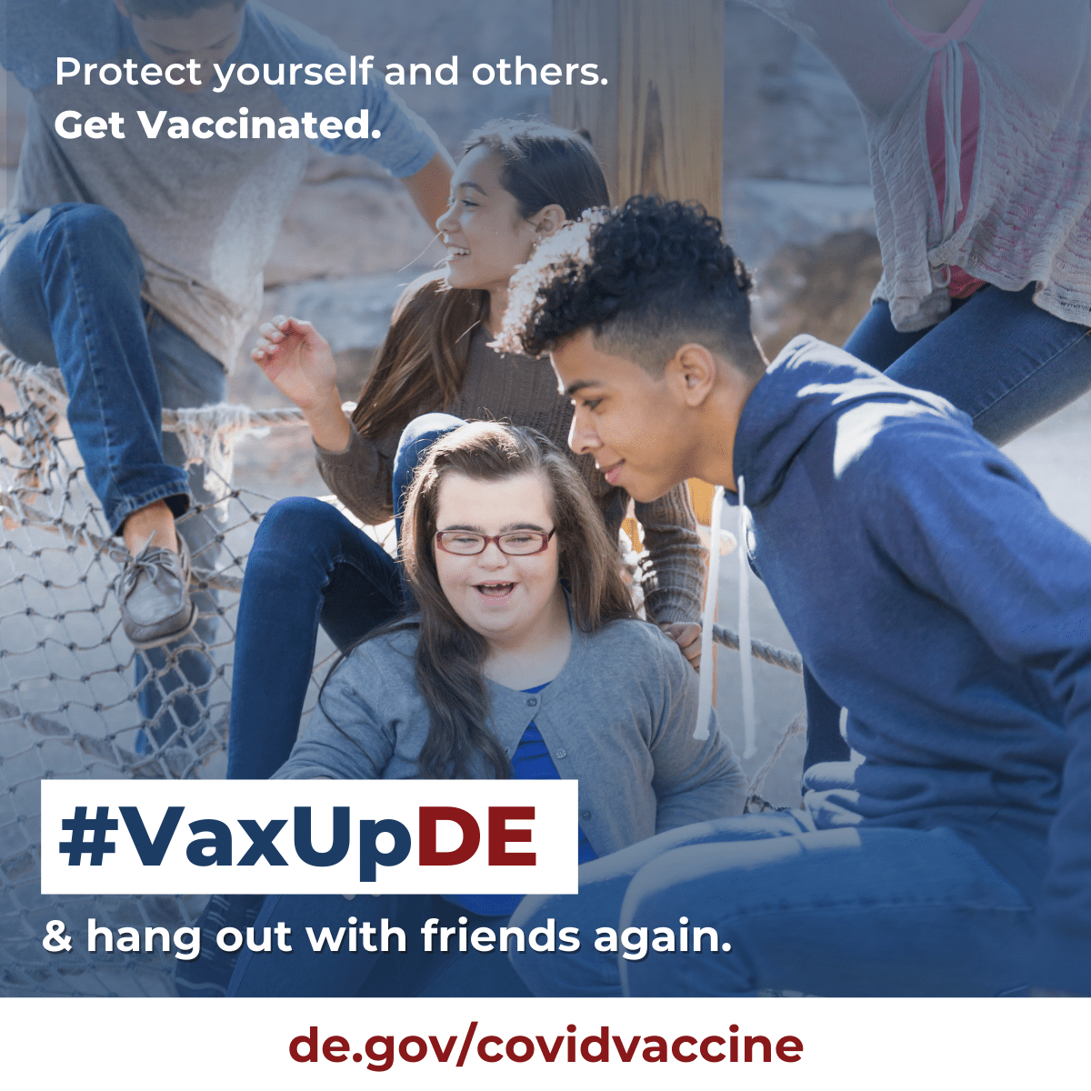 VaxUpDE. Protect yourself and others. Get Vaccinated. Kids give a high five while at a sports tournament.