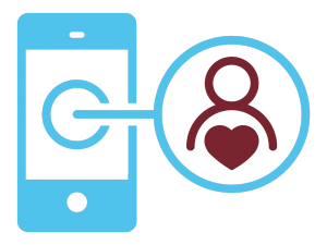 illustration of a phone with a figure and heart