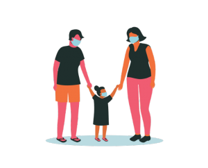 Illustrative figure two adults with young child