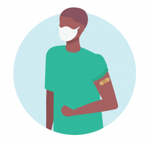 Illustrative figure of a man with a bandaid and a mask on after getting another vaccine dose.